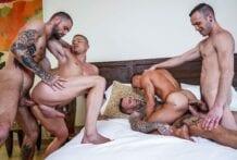 Dylan James, Jeffrey Lloyd, Drake Rogers And Ruslan Angelo's Bareback Foursome