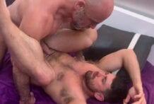 Full Scene: Adam Russo & Beau Butler breed Riley Mitchel (Bareback)