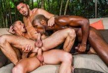 Andre Donovan, Ruslan Angelo And Shane Jackson's Public Lanai Fuck (Bareback)